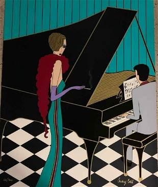 Audrey Cohle Piano Man and Woman AP Serigraph LE