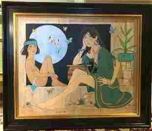 Denis Noyer Maiden with Indian Boy and Blue Moon Orig