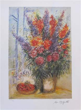 Marc Chagall Bowl of Cherries Facsimile Signed LE Litho