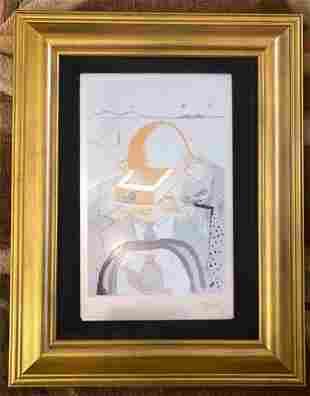 Salvador Dali - The Banker Framed Serigraph on Silver