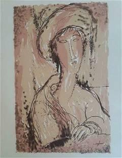 Amedeo Modigliani, Portrait of a Woman, Plate Signed