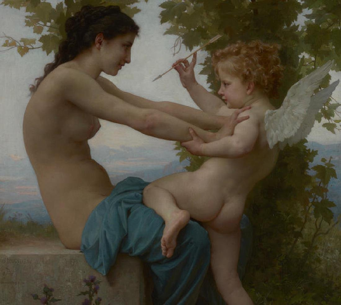 A Young Girl Defending Herself Against Eros Oil