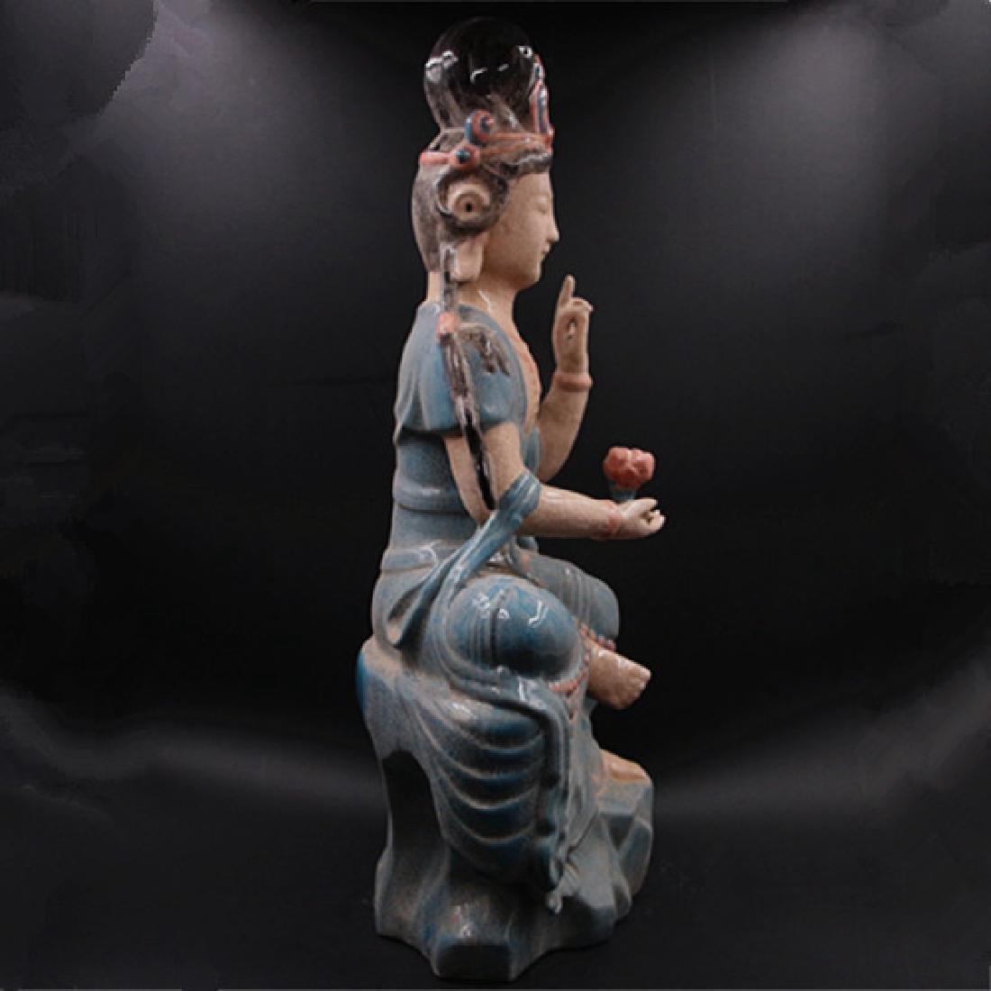 Chinese Zhou Dynasty Chai Ware Porcelain Buddha Statue - 2