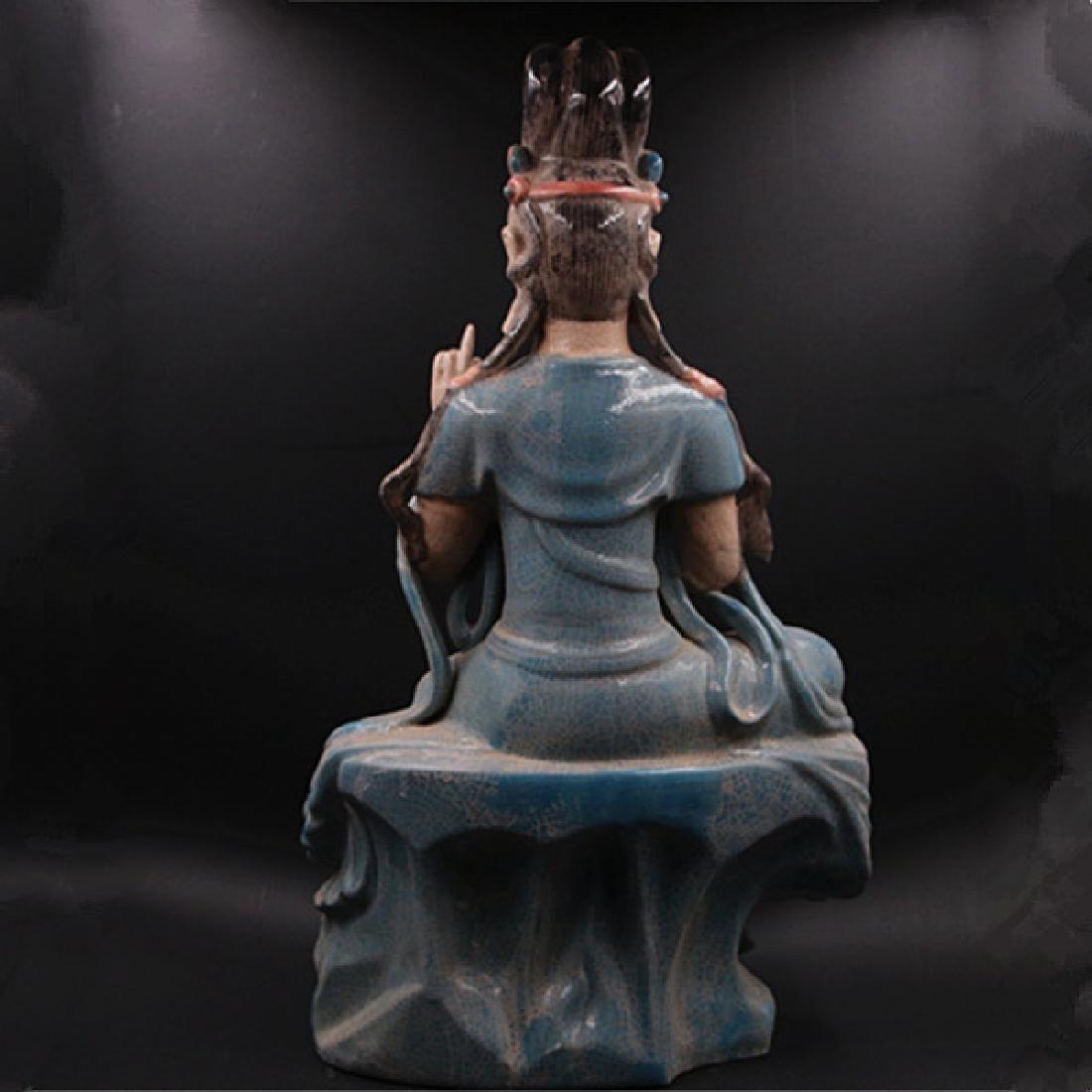 Chinese Zhou Dynasty Chai Ware Porcelain Buddha Statue - 3
