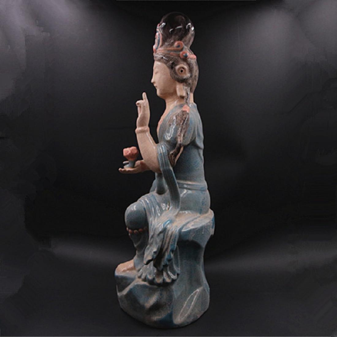 Chinese Zhou Dynasty Chai Ware Porcelain Buddha Statue - 4