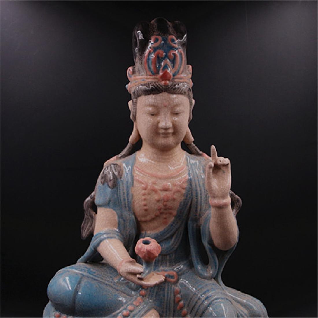 Chinese Zhou Dynasty Chai Ware Porcelain Buddha Statue - 5