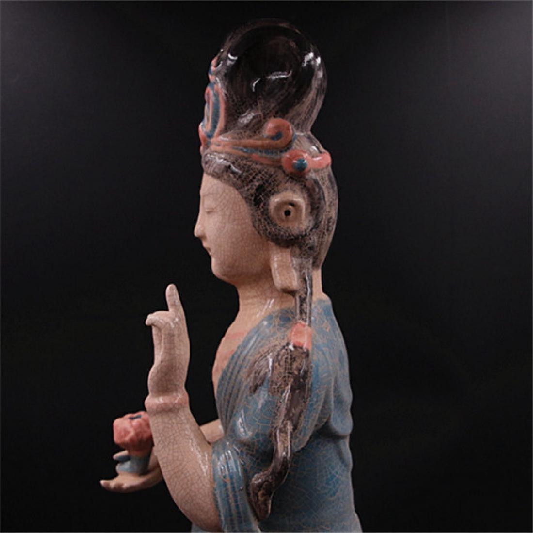 Chinese Zhou Dynasty Chai Ware Porcelain Buddha Statue - 7