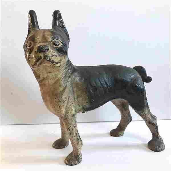 Antique HUBLEY Cast Iron Boston Terrier Dog Art Statue