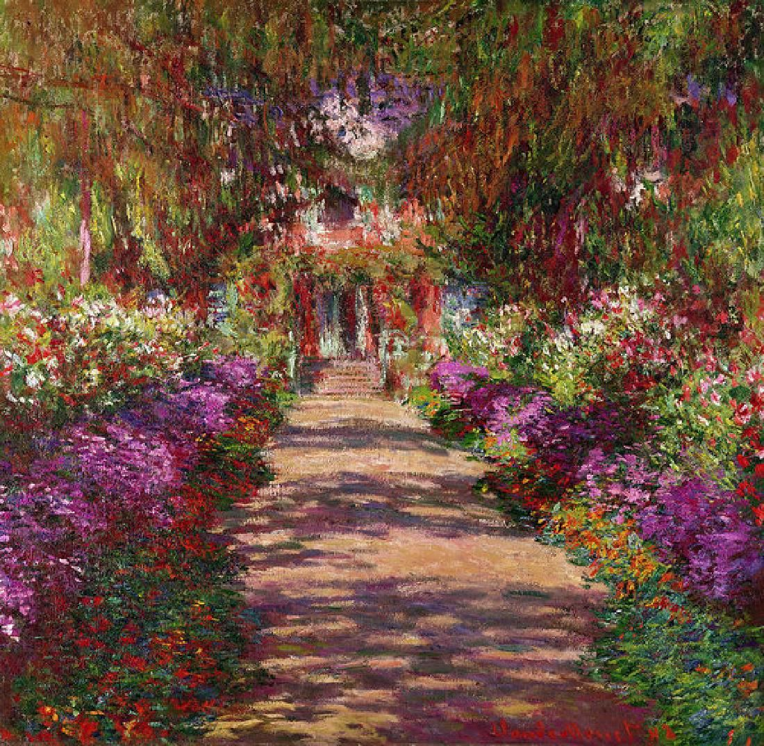 A Pathway In Monets Garden Giverny Oil Painting