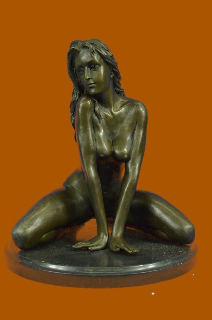 100% Real Bronze Sculpture Nude Lady Art Deco Home