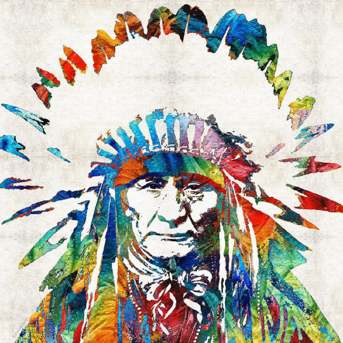 Native American Art - Chief - By Sharon Cummings Oil