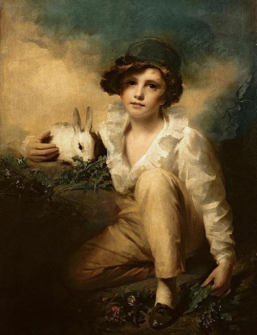 Boy And Rabbit Oil Painting