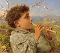 Shepherd's Pipes. Capri Oil Painting