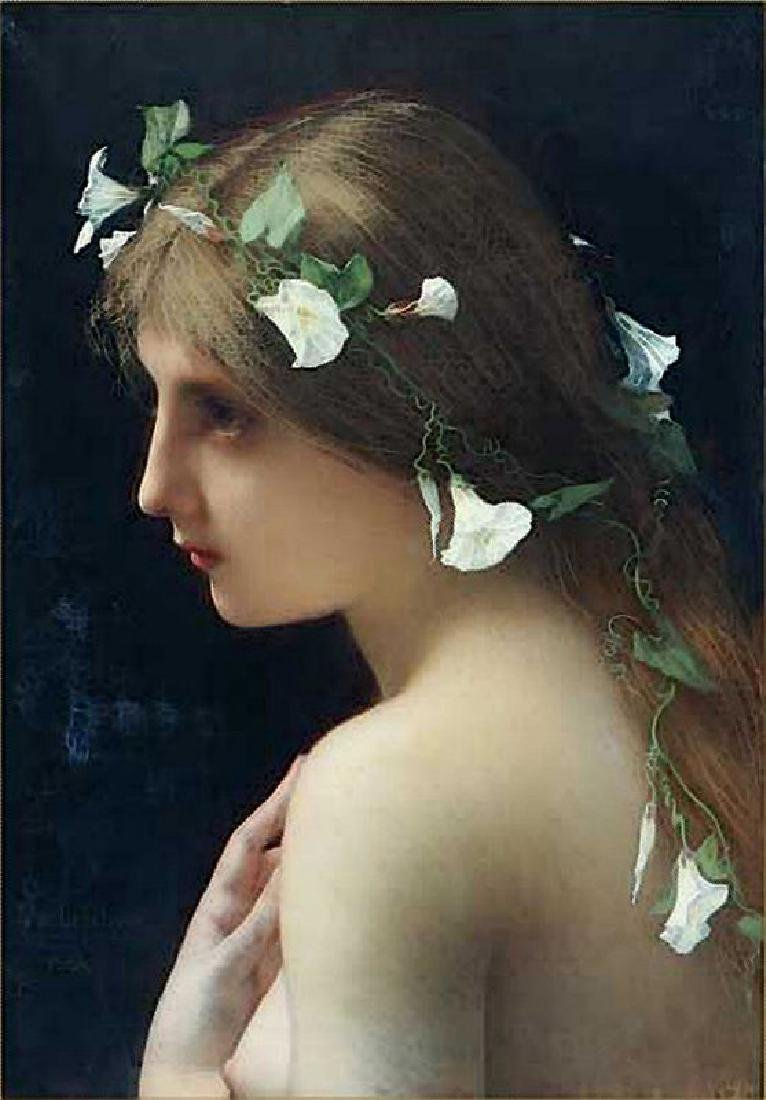 Lefebvre Jules Joseph Nymph With Morning Glory Flowers