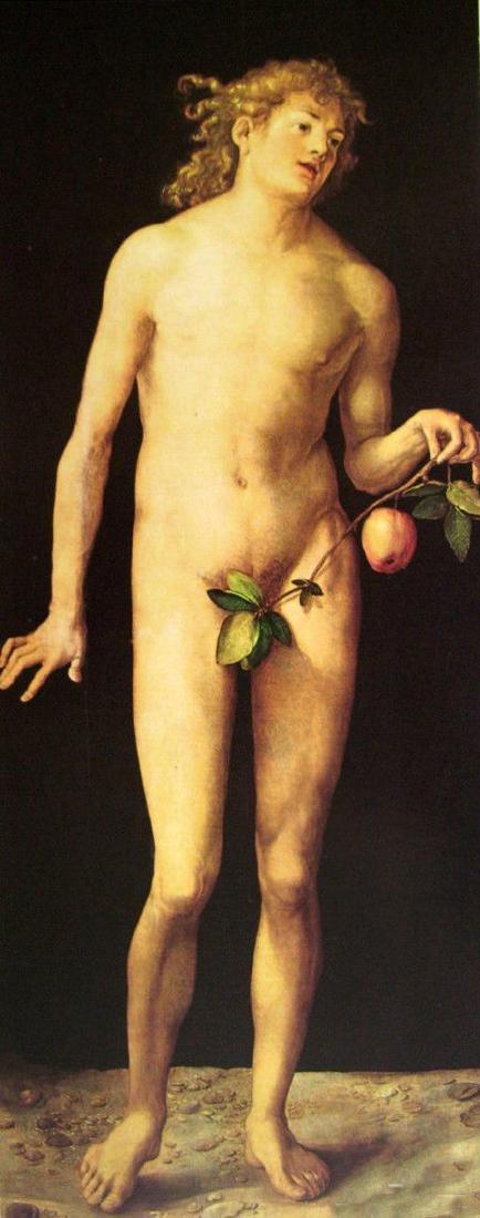 Oil painting Albrecht Durer - Nude naked young man Adam