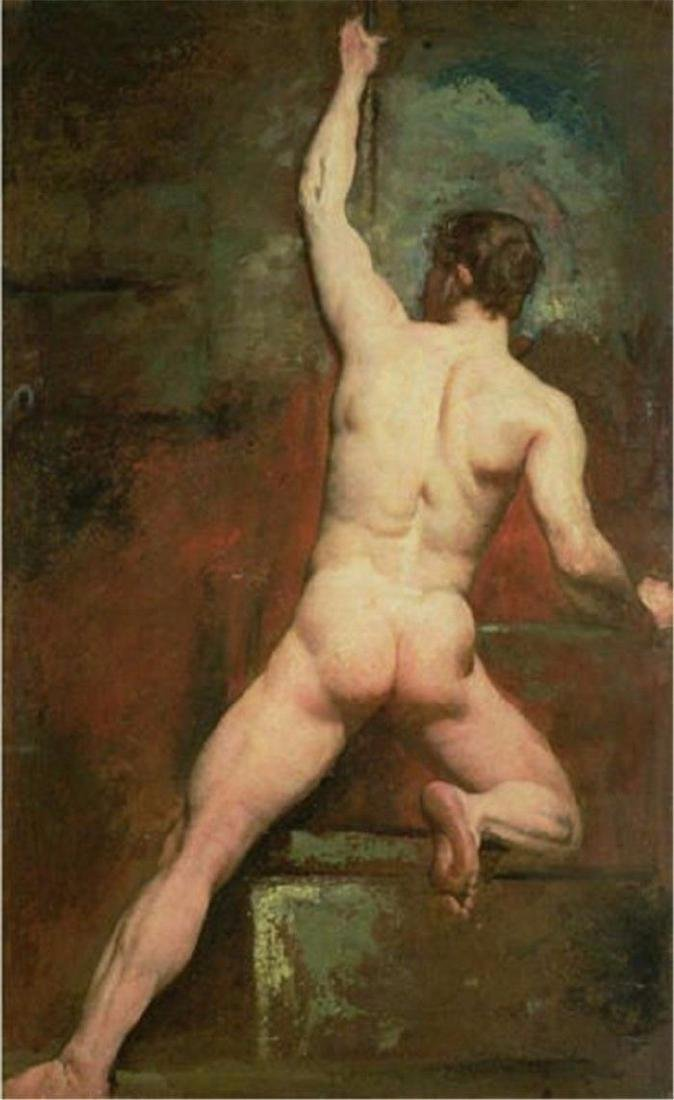 NUDE MALE ,Hand Painted Portrait Oil Painting on Canvas