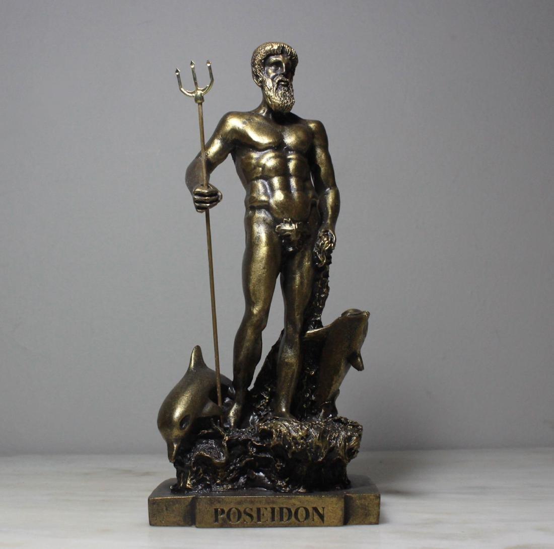 Poseidon Neptune God Greek Mythology Bronze Finish