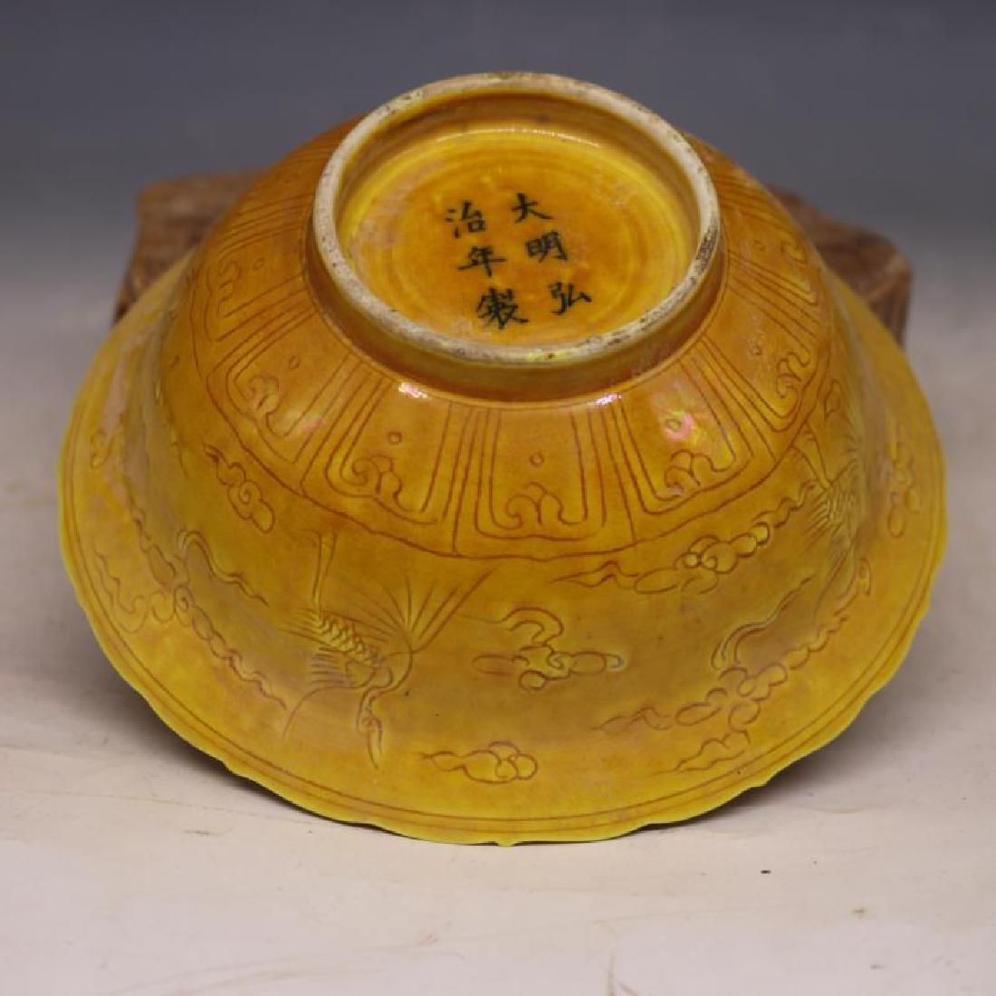 Chinese Ming Dynasty Hongzhi Time Yellow Glaze