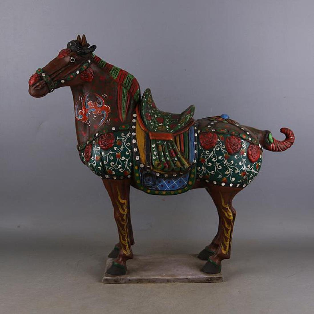 Chinese Tang Dynasty Colorful Porcelain Horse