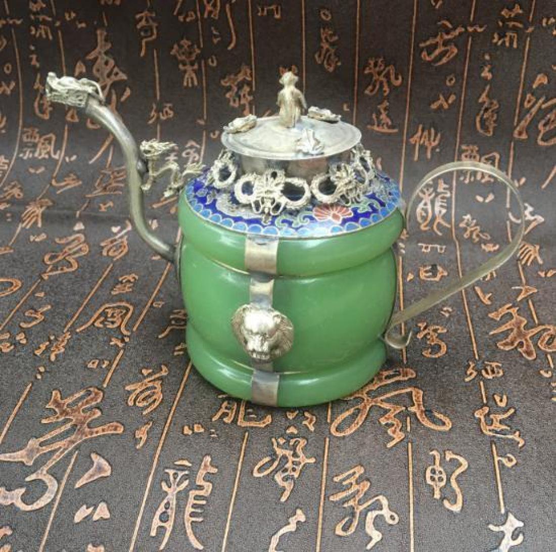 Chinese Antique Copper-Nickel & Jade Tea Pot