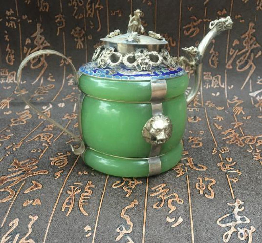 Chinese Antique Copper-Nickel & Jade Tea Pot - 2