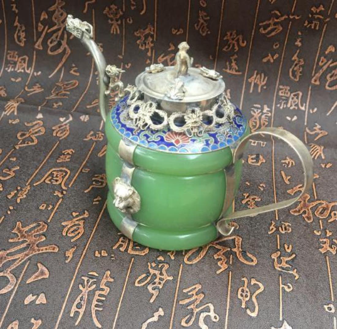 Chinese Antique Copper-Nickel & Jade Tea Pot - 3