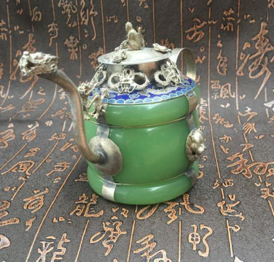 Chinese Antique Copper-Nickel & Jade Tea Pot - 4