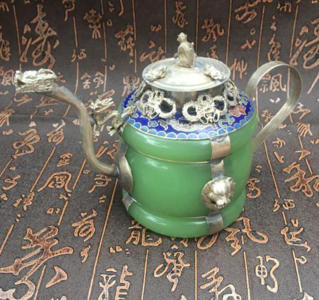 Chinese Antique Copper-Nickel & Jade Tea Pot - 5