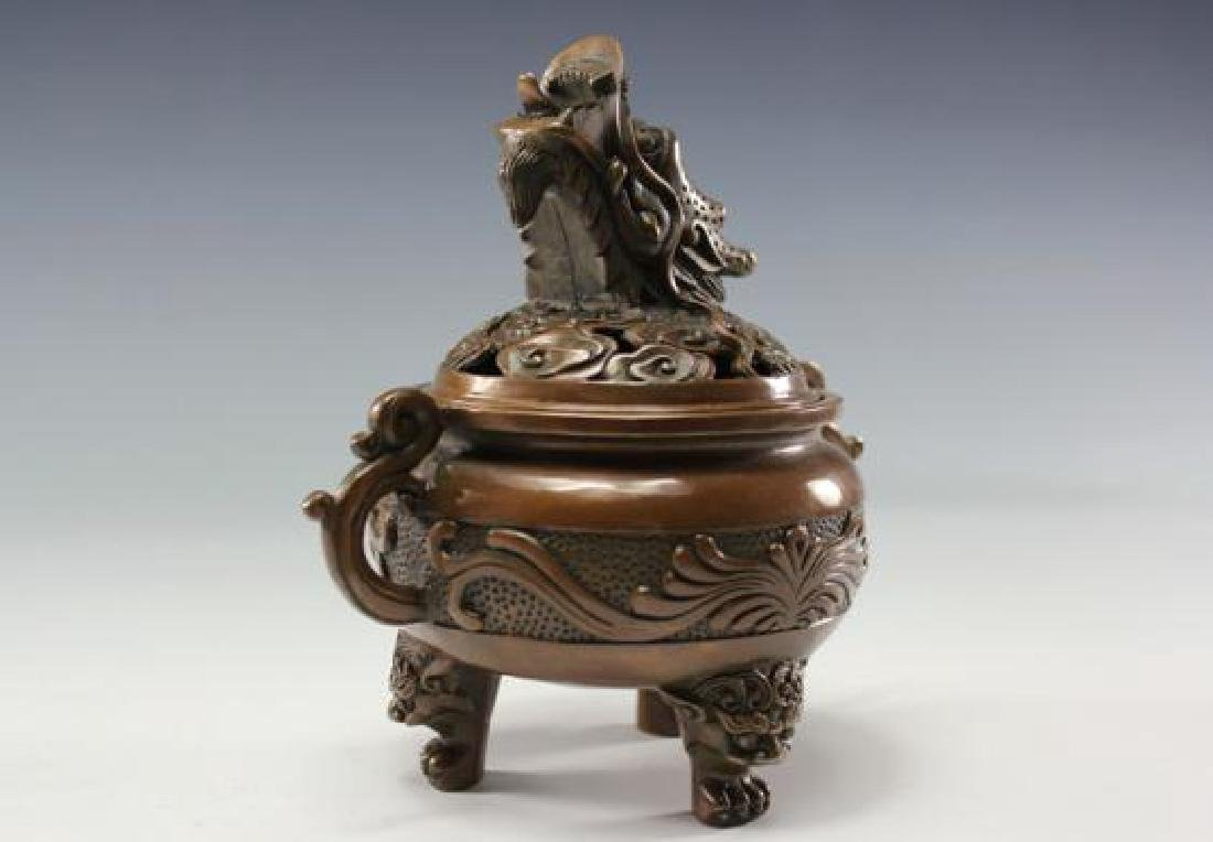 Chinese Antique Copper Incense Burner - 2