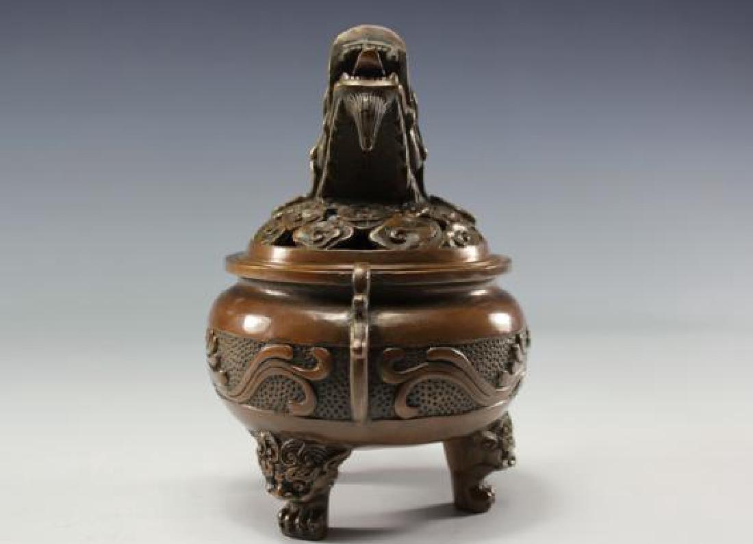 Chinese Antique Copper Incense Burner - 3
