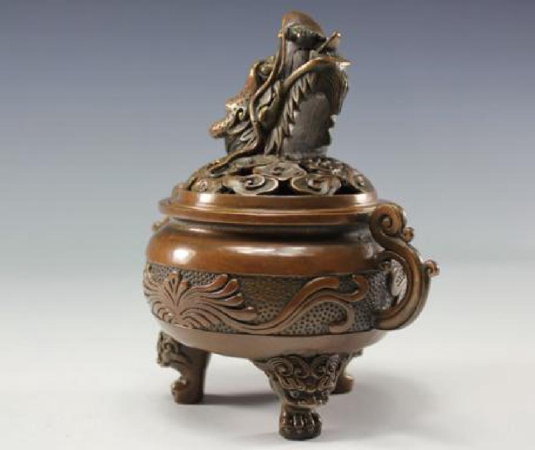 Chinese Antique Copper Incense Burner - 4