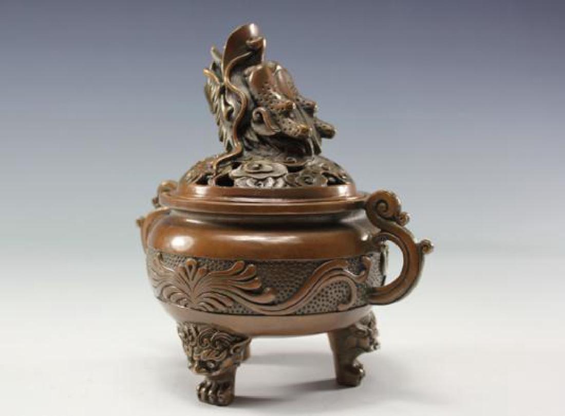 Chinese Antique Copper Incense Burner - 8