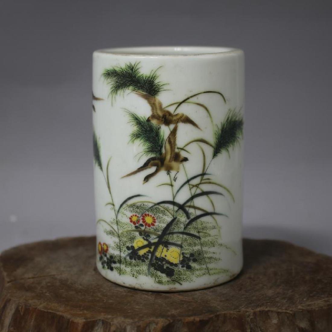 Chinese Republic Of China Famille-Rose Porcelain Brush