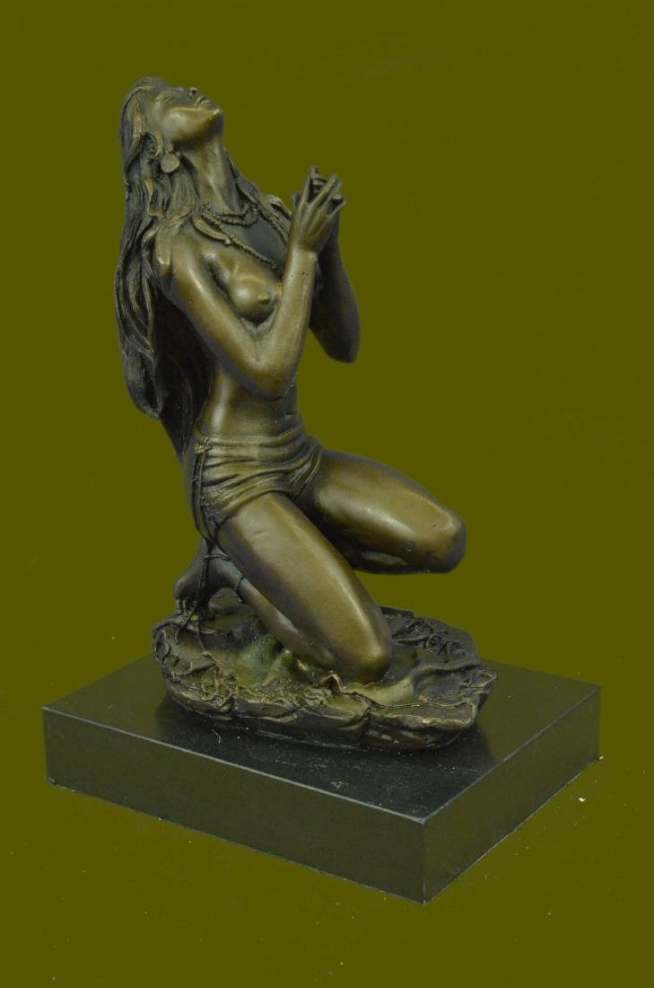 Bronze Sculpture Nude Pretty Girl Praying Spiritual