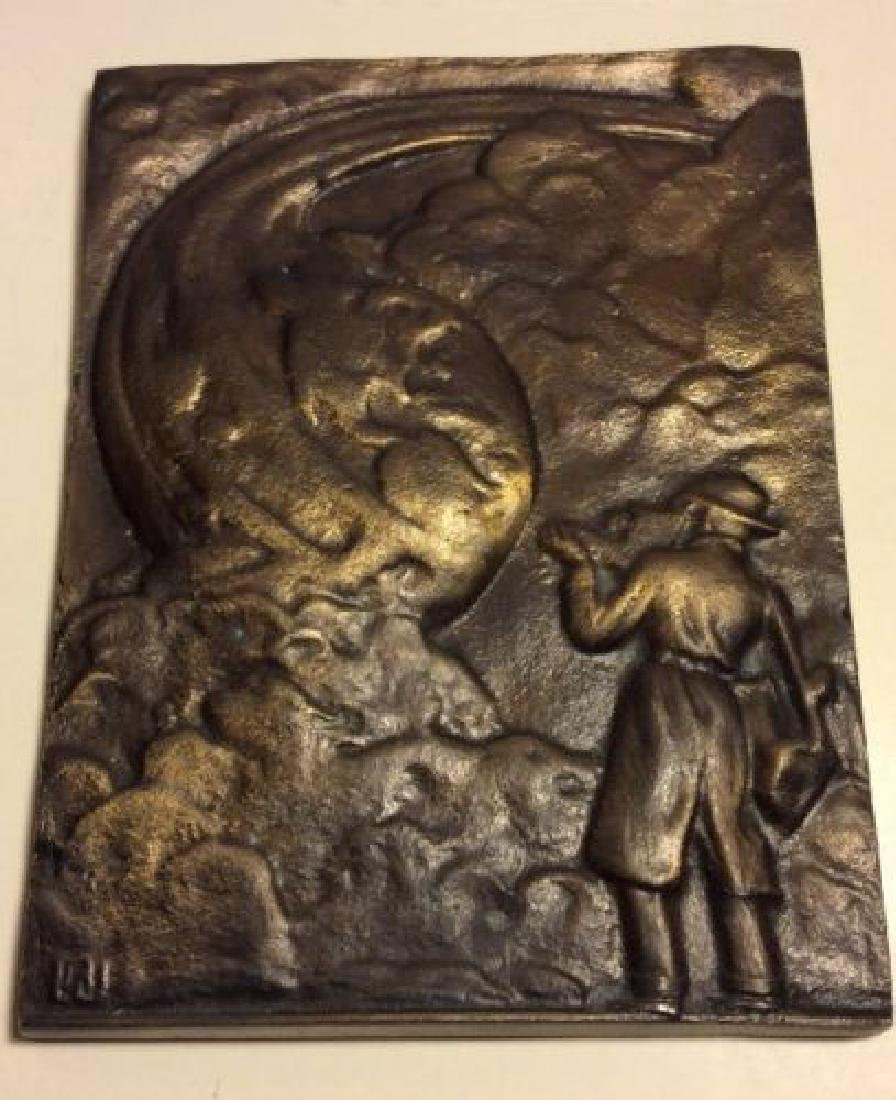 Mid Century Bronze Relief Wall Plaque Modern Sculpture