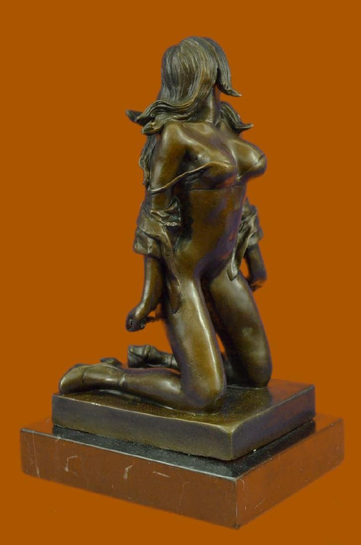 Bronze Sculpture Erotic Art Titled Girl with Whip By
