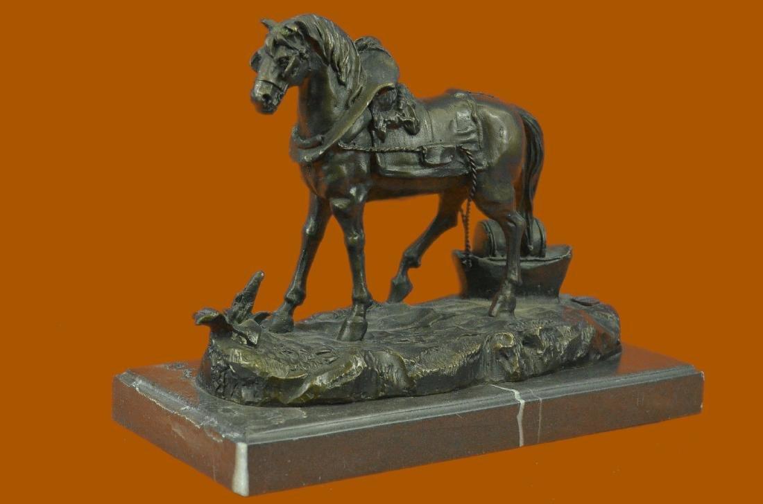 Handcrafted Work Horse Farm Bronze Sculpture Marble