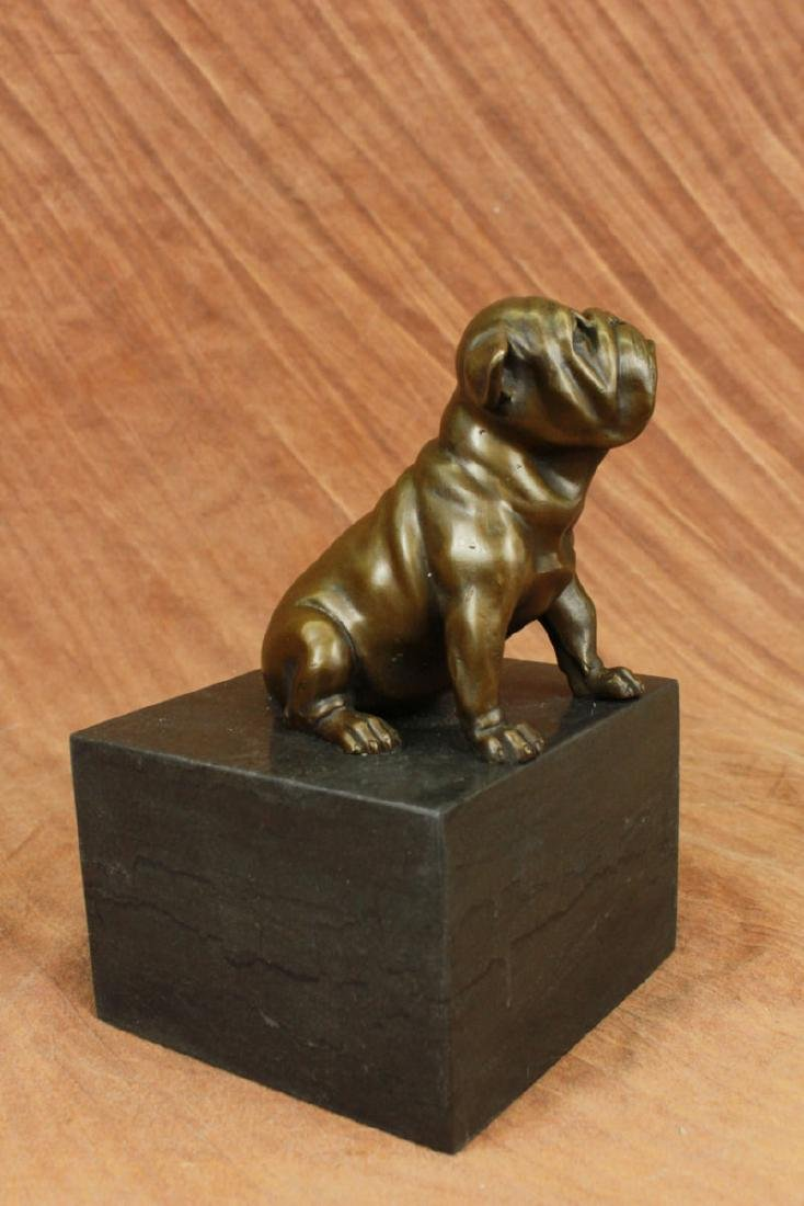Bronze Sculpture of a Sitting Bulldog or Pug Dog on a