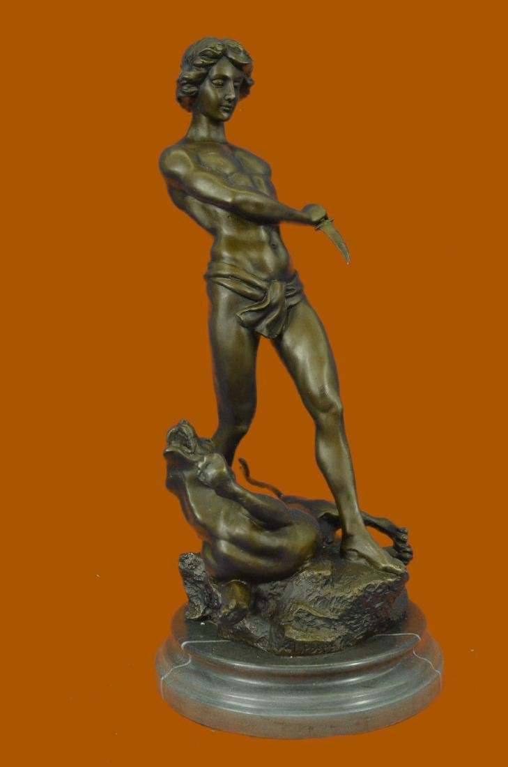 Bronze Sculpture Nude Tarzan Fighting Cougar Hot Cast