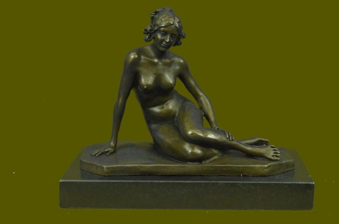 Bronze Sculpture Sitting Nude Lady Hand Made