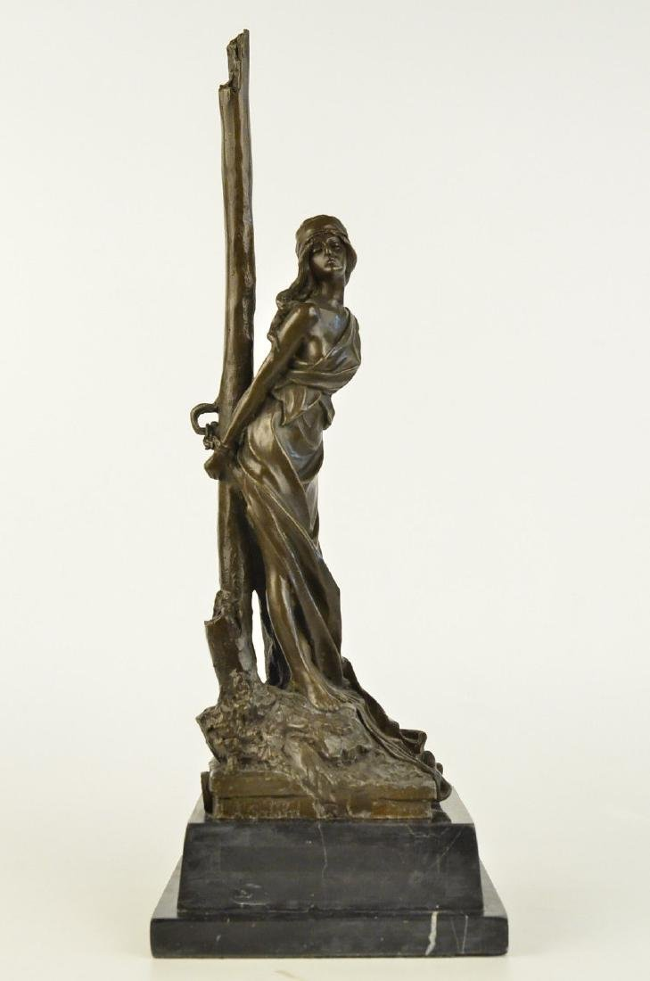 Neoclassical Bronze Chained Lady Sculpture Marble Base