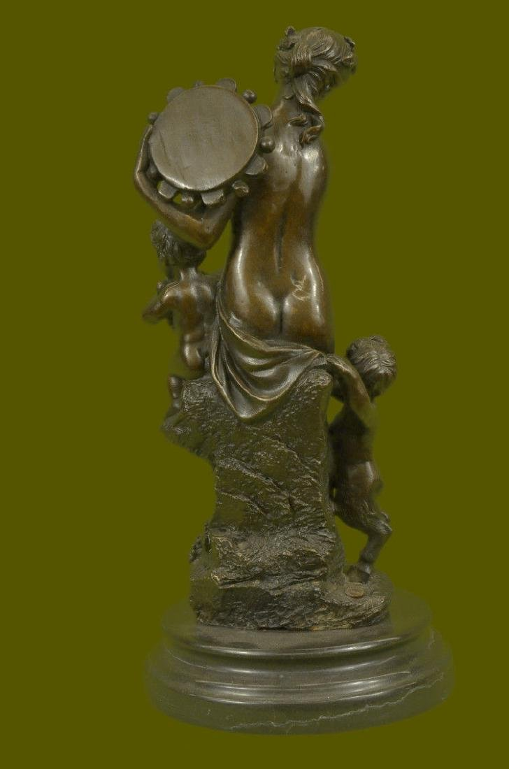 Bronze Sculpture Large Nude Venus with Cherub Art Deco