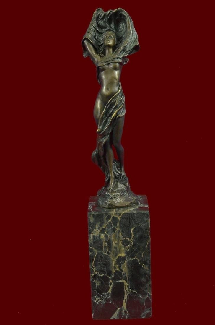 Bronze Sculpture Art Nouveau Deco Nude Girl Figural