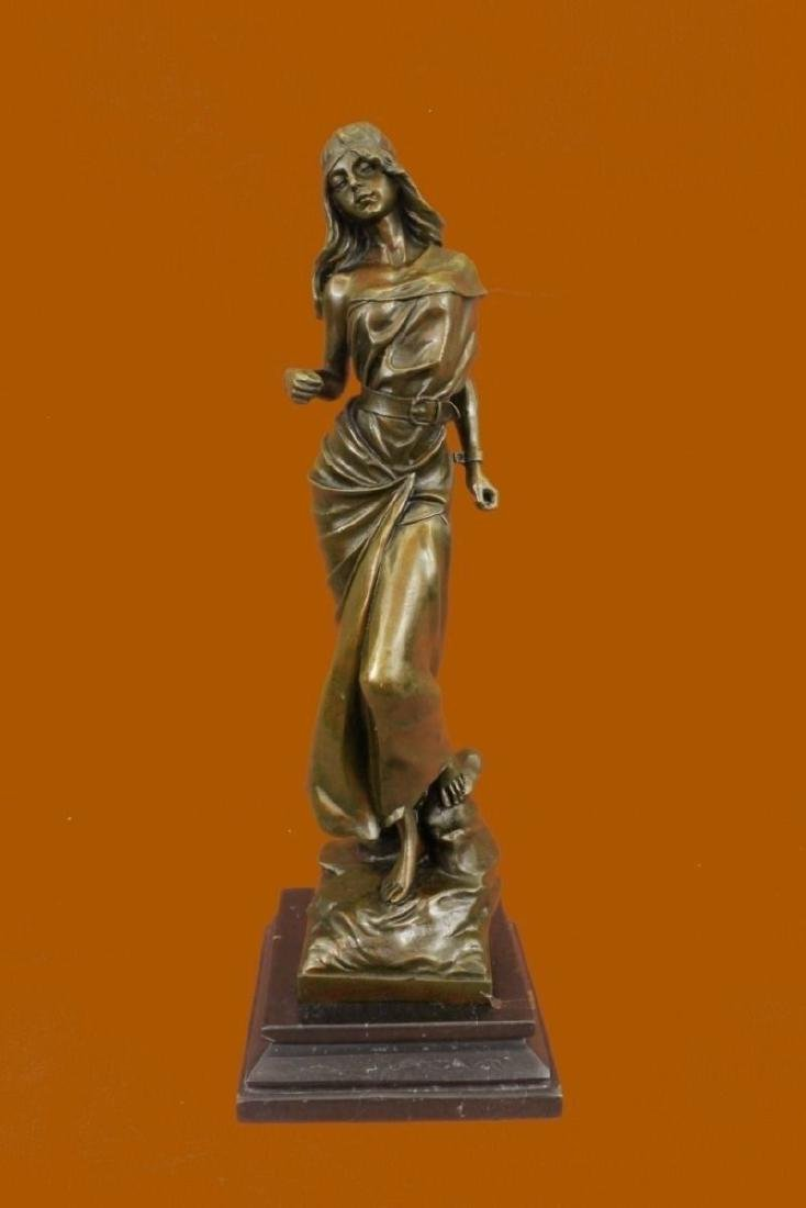 Bronze Sculpture Signed Mirval Native American Girl