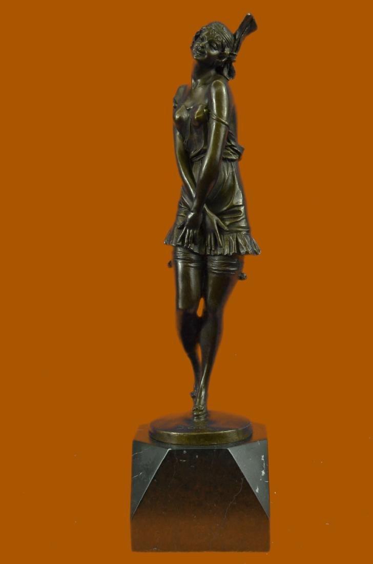 1940 Style Flapper Dancer Bronze Sculpture Marble Base