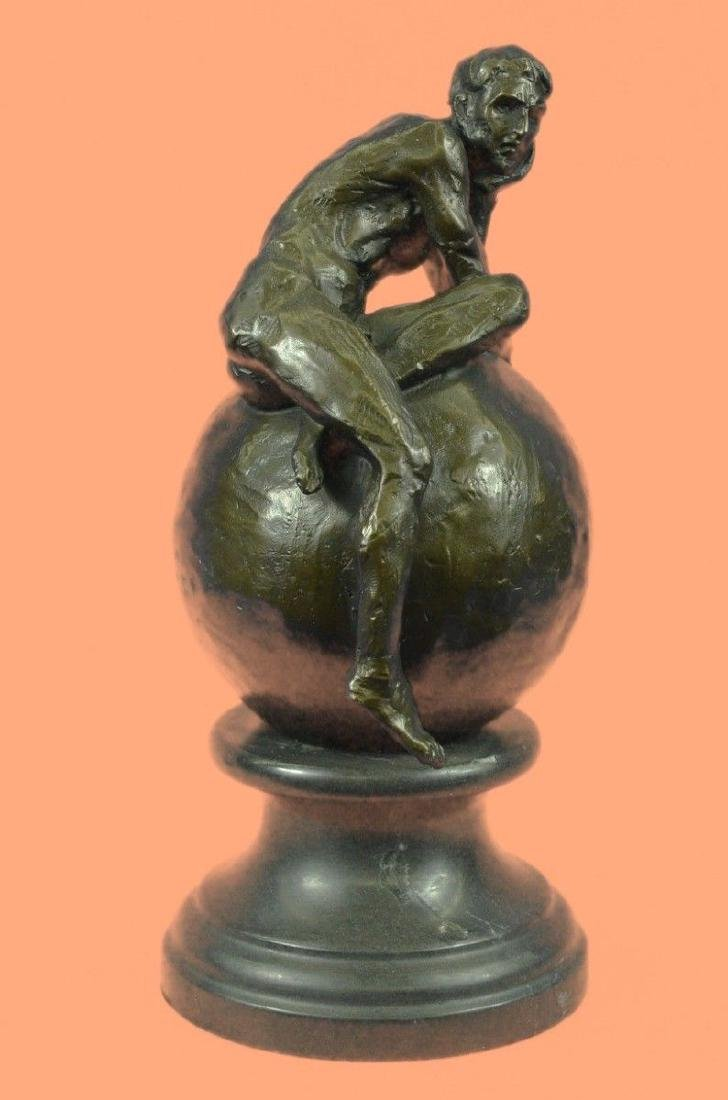 Real Abstract Bronze Man Sculpture Signed Marble Base