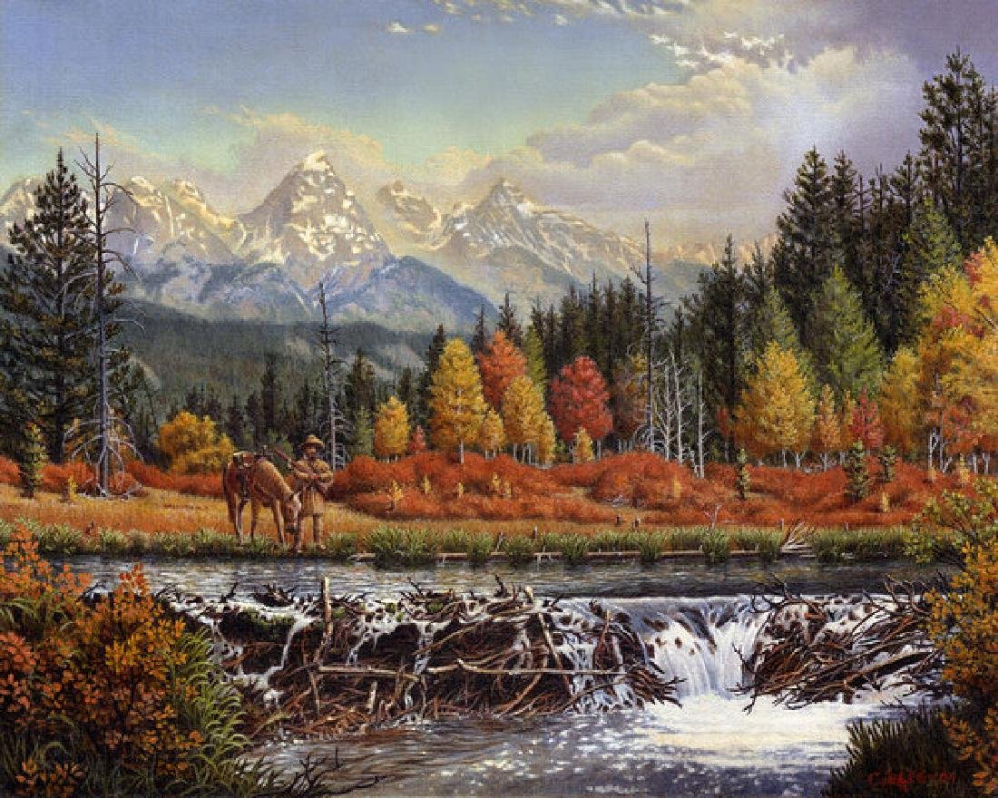 Western Mountain Landscape Autumn Mountain Man Trapper