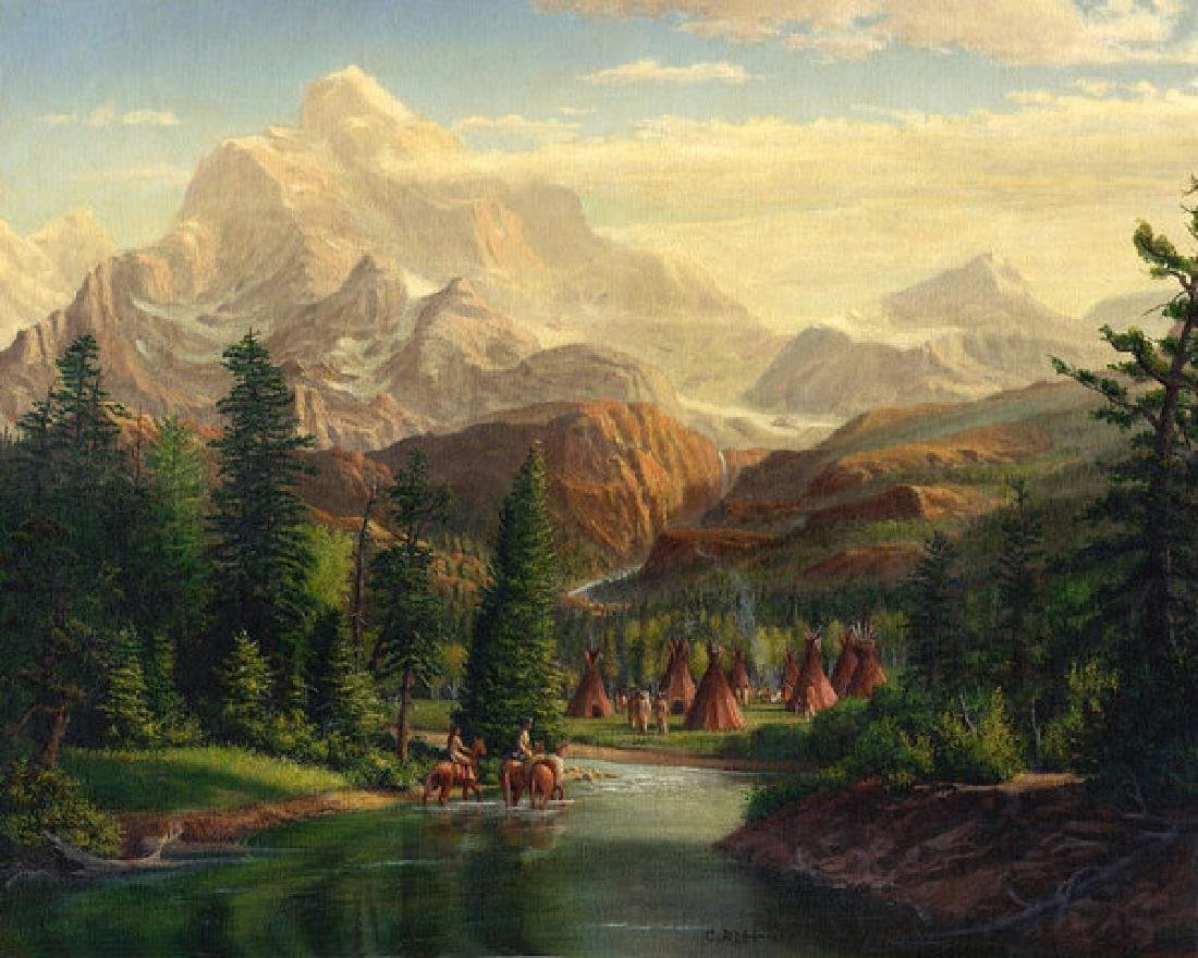 Indian Village Trapper Western Mountain Landscape Oil