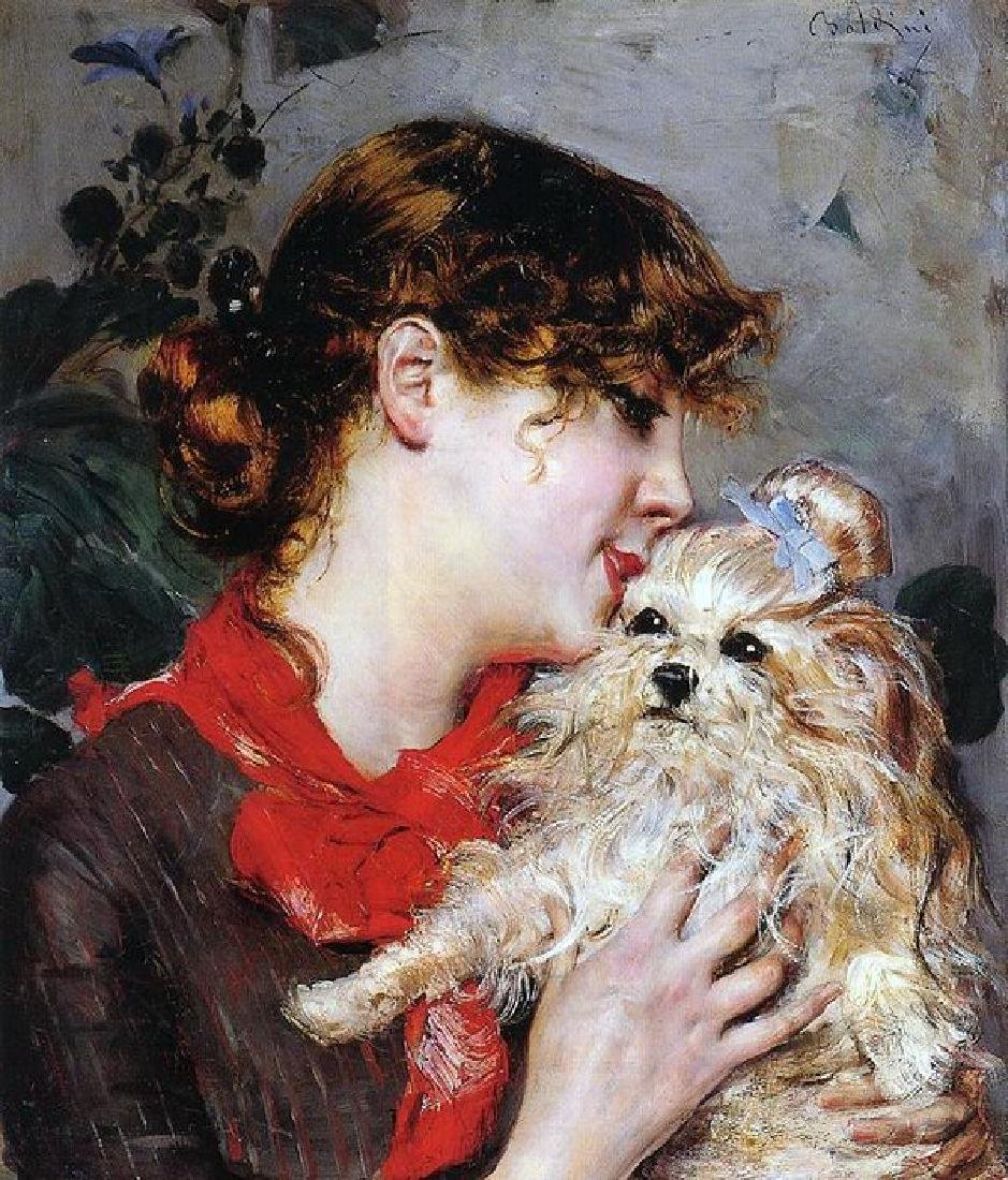 The Actress Rejane And Her Dog Oil Painting on Canvas