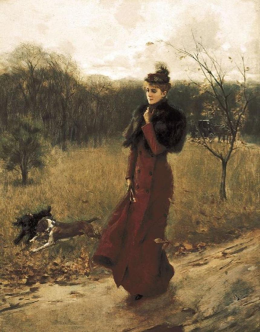 Boldini, Giovanni 1842-1931. Walk Oil Painting on